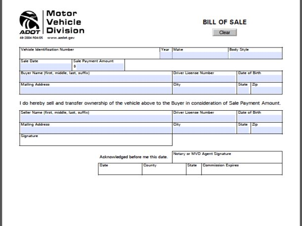 Arizona Bill of Sale Form | Free Fillable PDF Forms