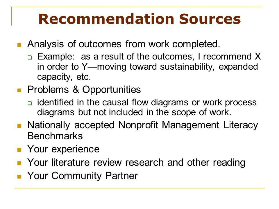 Recommendations. The final section of your final report will ...