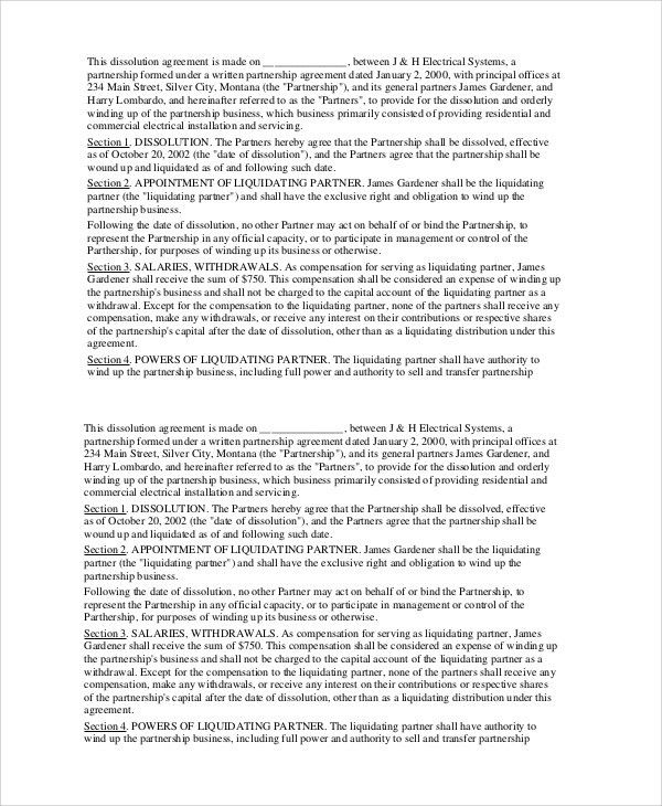 Business Dissolution Agreement. Business Partnership Dissolution ...