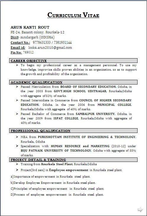 Resume Format For Diploma Holders - Best Resume Gallery