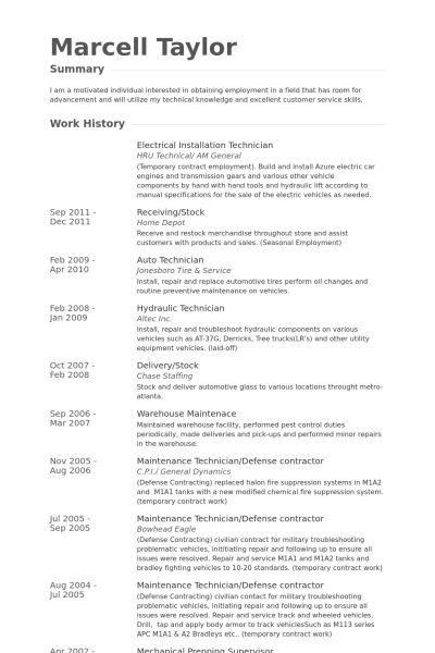 Installation Technician Resume samples - VisualCV resume samples ...
