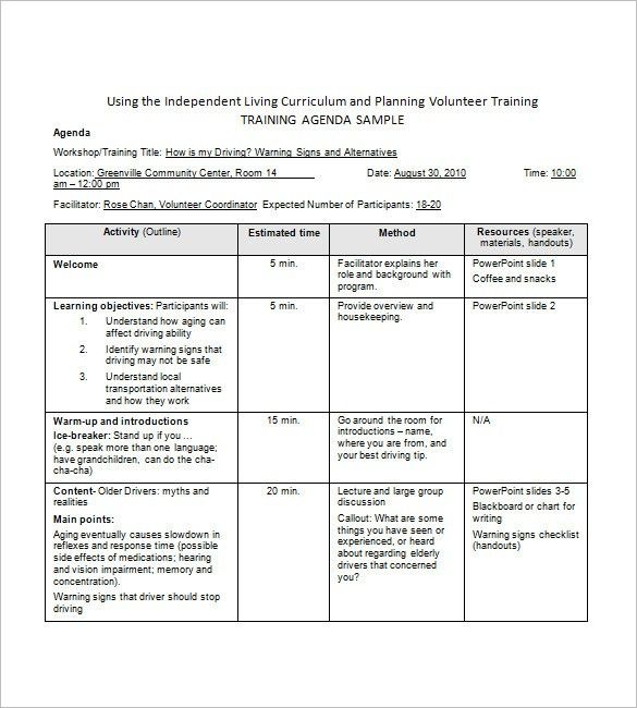 training agenda template in word | Professional Templates