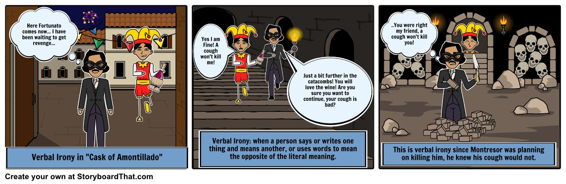 Cask of Amontillado - Irony example Storyboard