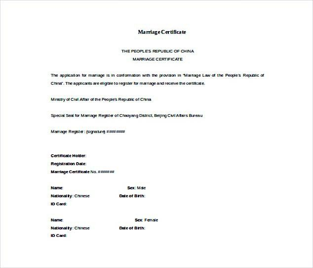 Doc Format Free Marriage Certificate Template , Selecting ...