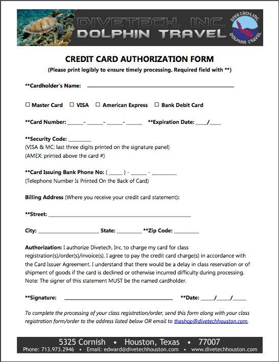 CC Authorization Form – Divetech Houston