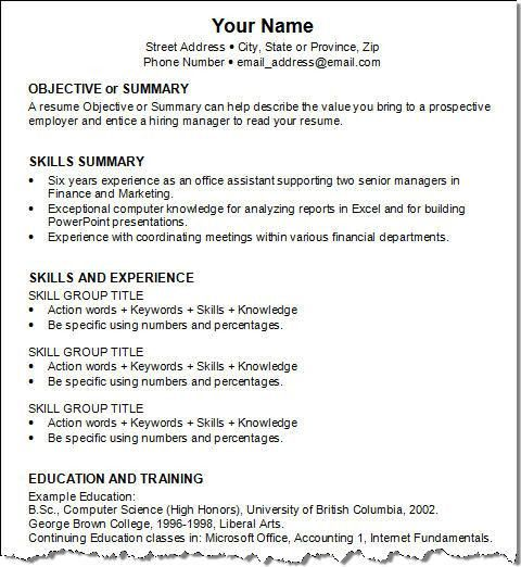 simple job resume samples resume templates for first job samples