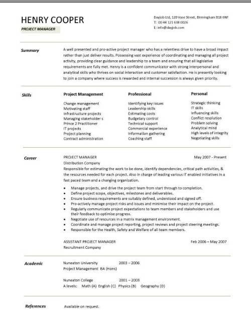 Project Manager Resume Template. Project Manager Resume Samples ...