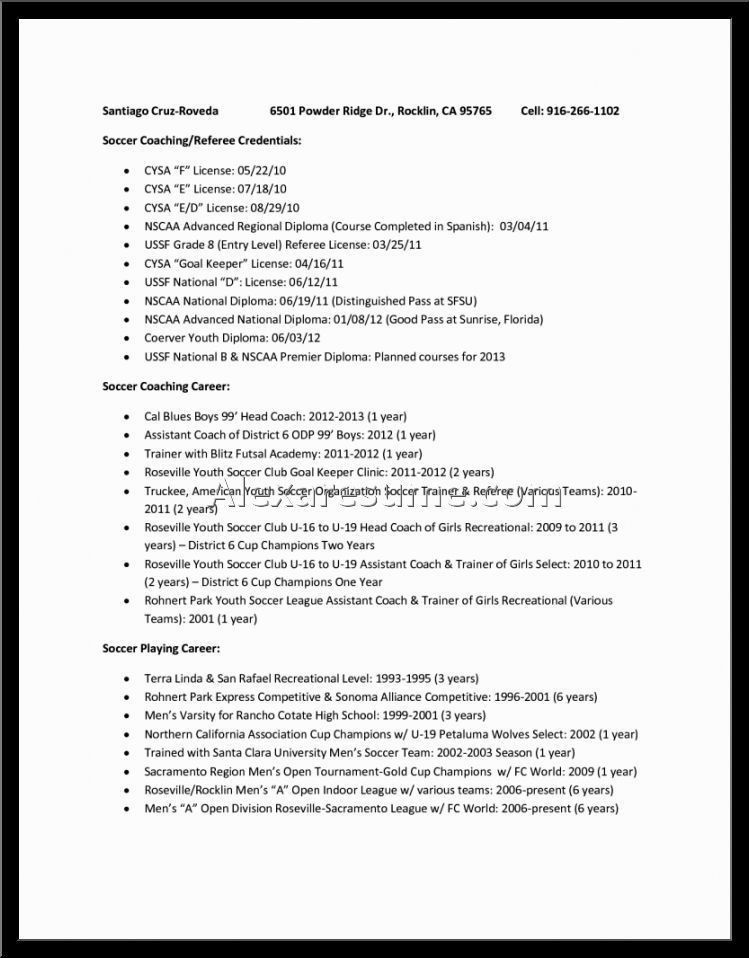 Best Ideas of Soccer Coach Resume Sample On Download Proposal ...