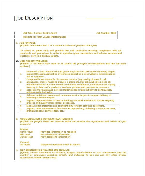 Call Center Job Description - 11+ Free Word, PDF Documents ...