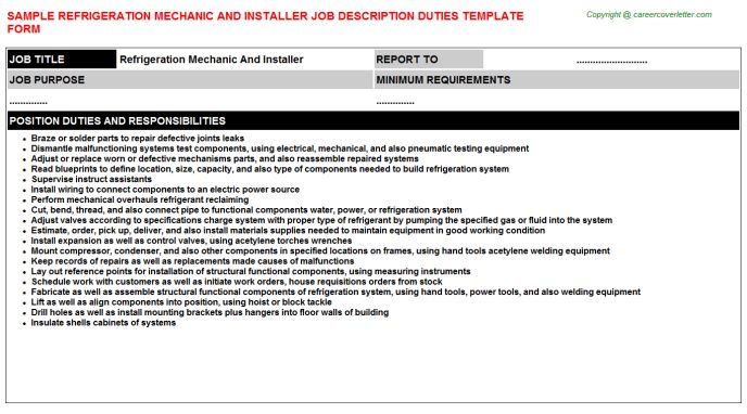 Refrigeration Apprentice Job Descriptions