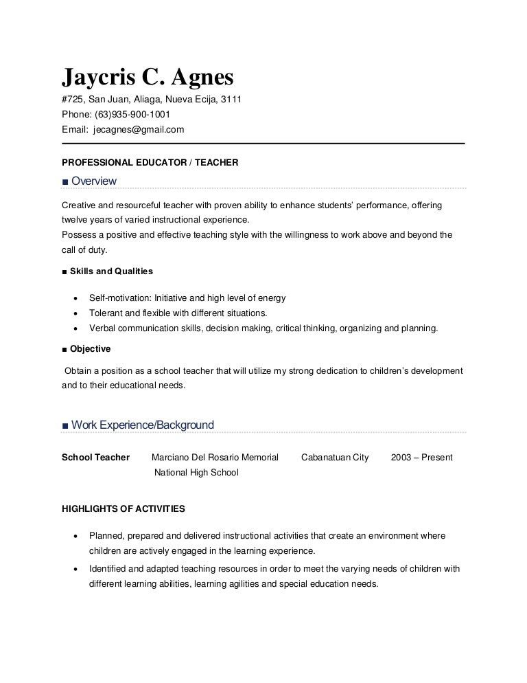 Resume Sample For Teachers