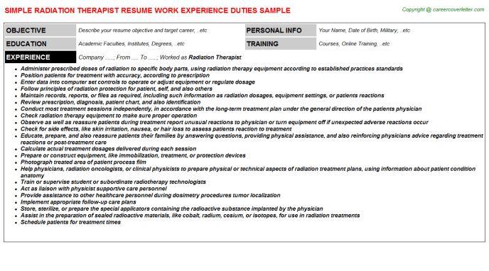 Radiation Therapist Resume Sample