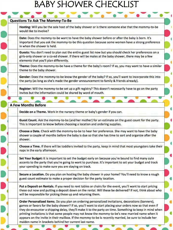 Baby Shower Checklist (Free Printable) - Moms & Munchkins