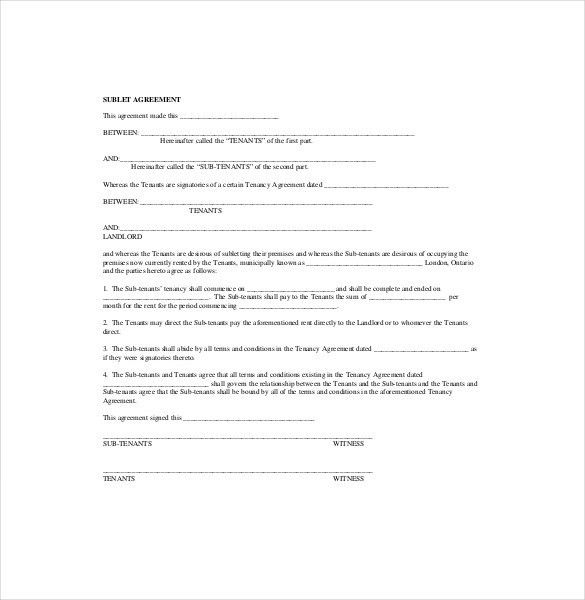 Sublease Agreement Form Template , 10+ Useful Sublease Agreement ...