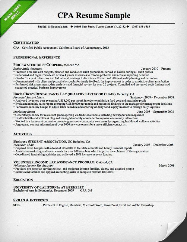 Nice Design Ideas Cpa Resume 13 Accountant Resume Sample And Tips ...