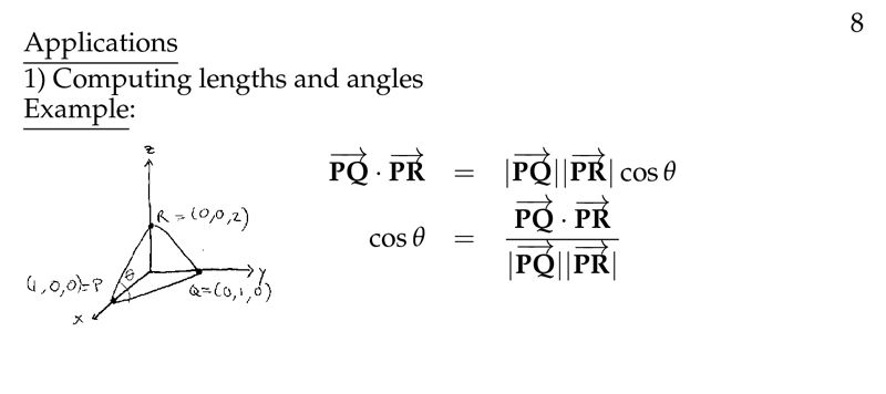 Session 3: Uses of the Dot Product: Lengths and Angles   Part A ...