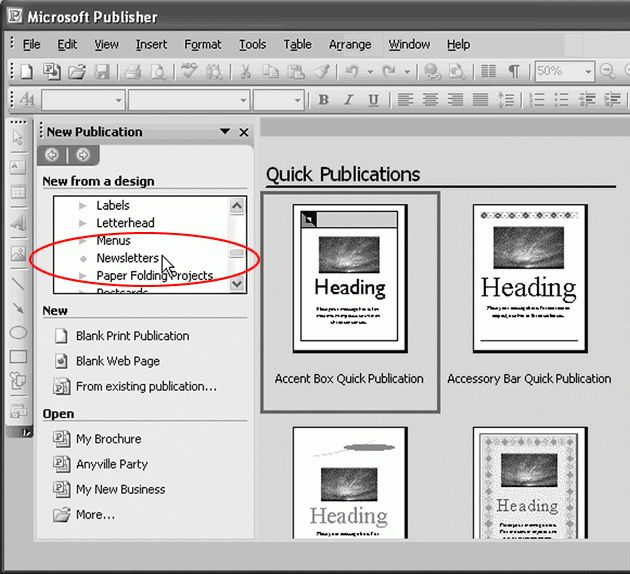 Publisher 2003 In Pictures: Create a newsletter from a template