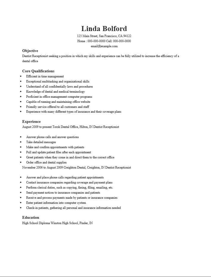 home resume resume samples dental