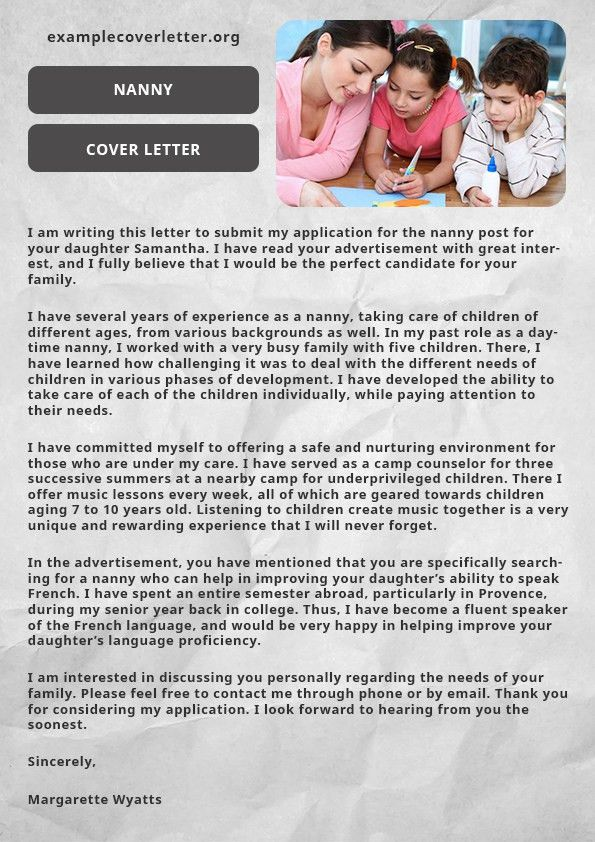 Nanny Cover Letter Example | Example Cover Letter