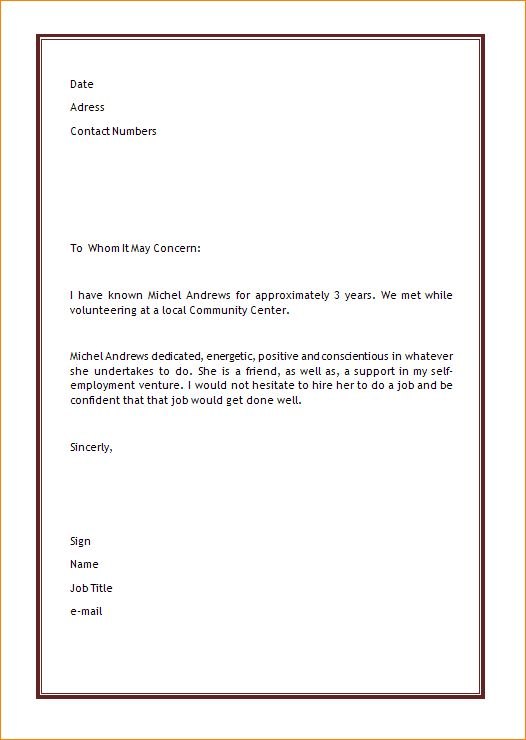 4+ recommendation letter template word | Outline Templates