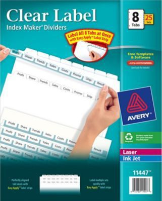 Avery Index Maker Clear Label Tab Dividers, 8-Tab, White, 25 Sets ...