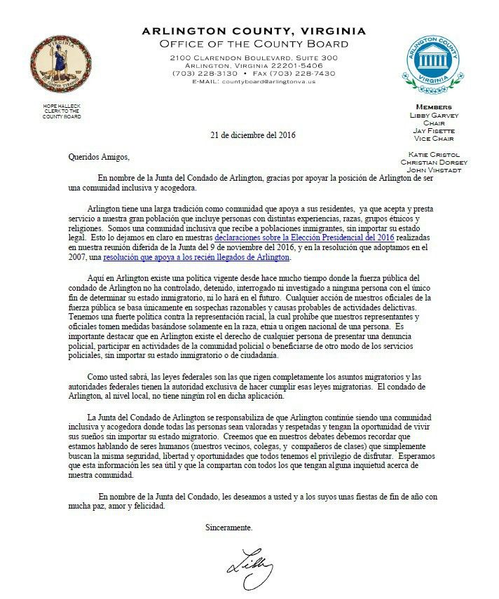 Media Alert: Arlington County Board Letter on Immigration - Newsroom