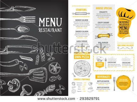 Restaurant Cafe Menu Template Design Food Stock Vector 291230057 ...
