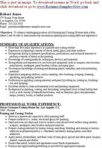 painters resume sample objective summary of qualifications ...