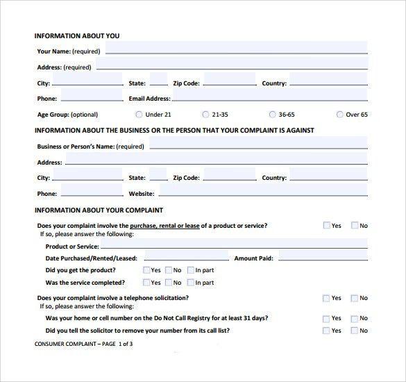Consumer Complaint Form   8 + Samples, Examples U0026 Format
