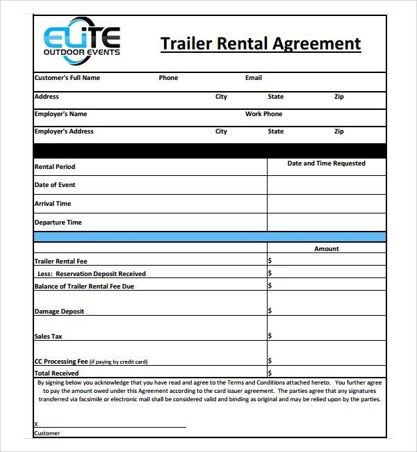 Trailer Rental Agreement Template. Other Size [ S ] Excellent Boat ...