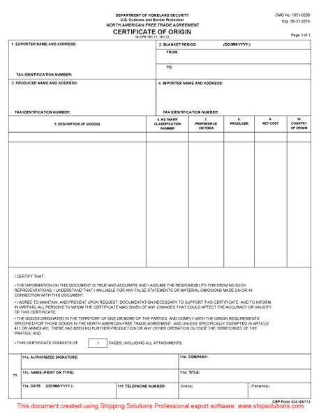 Blank Certificate Of Origin - Resume Templates