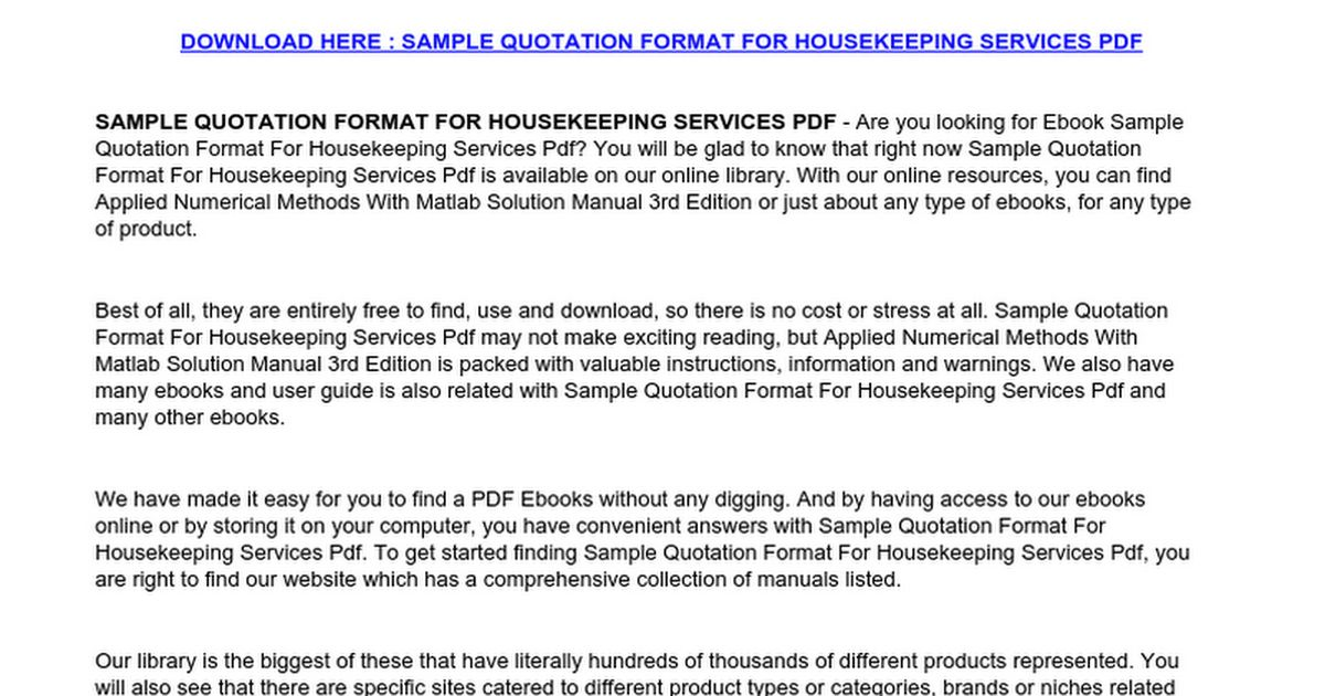 Sample Quotation Format For Housekeeping Services.doc - Google Docs