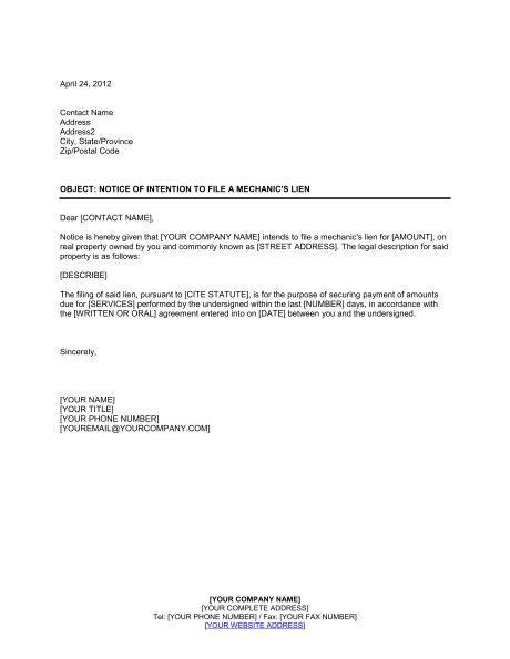 Notice of Intention to Foreclose - Template & Sample Form ...