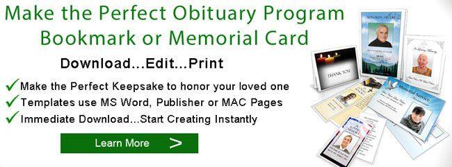 Obituary Program Sample | Obituary Template | Memorial Service Program