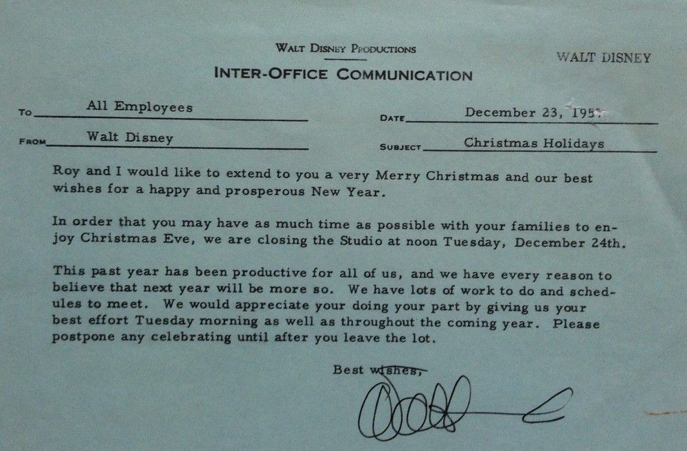 1957 Disneyland All-Employee Holiday Inter-Office Communication ...