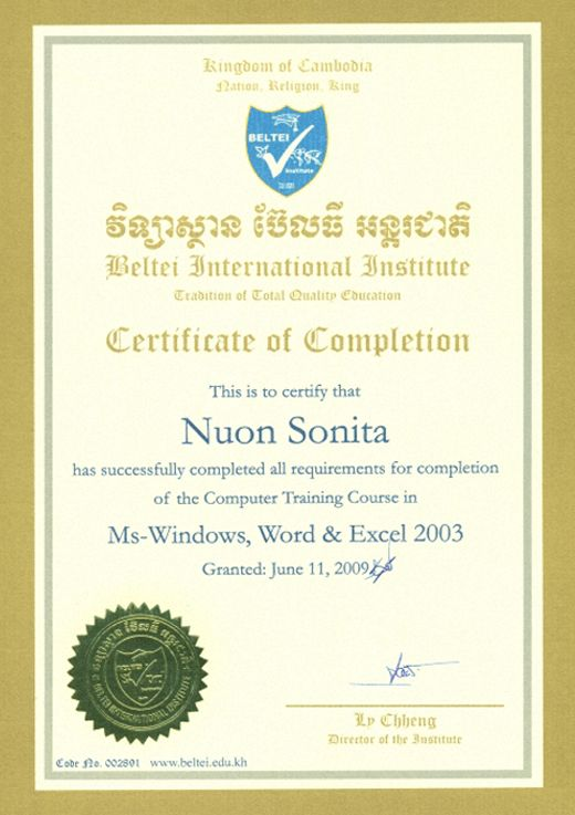 IV-Certificate of Computer Training