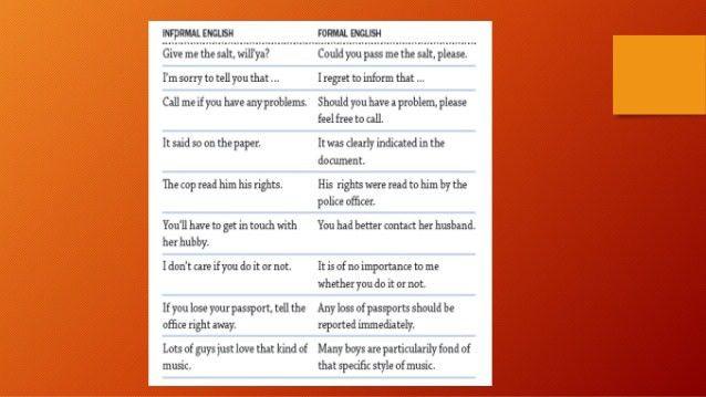 Formal vs informal English