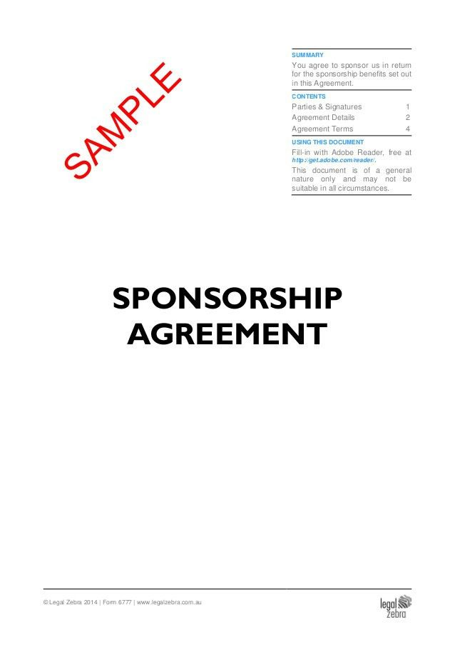 Sponsorship Agreement Template - Sample