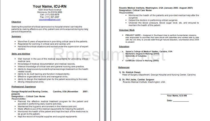 nicu nurse resume sample 2 example of nurse resume emergency - Nicu Nurse Resume Sample