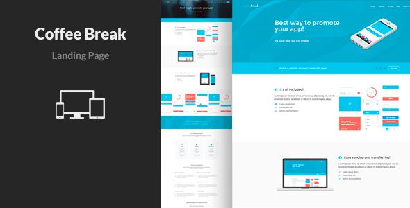 Coffee Break - App Landing Page Template by Lumberjacks   ThemeForest