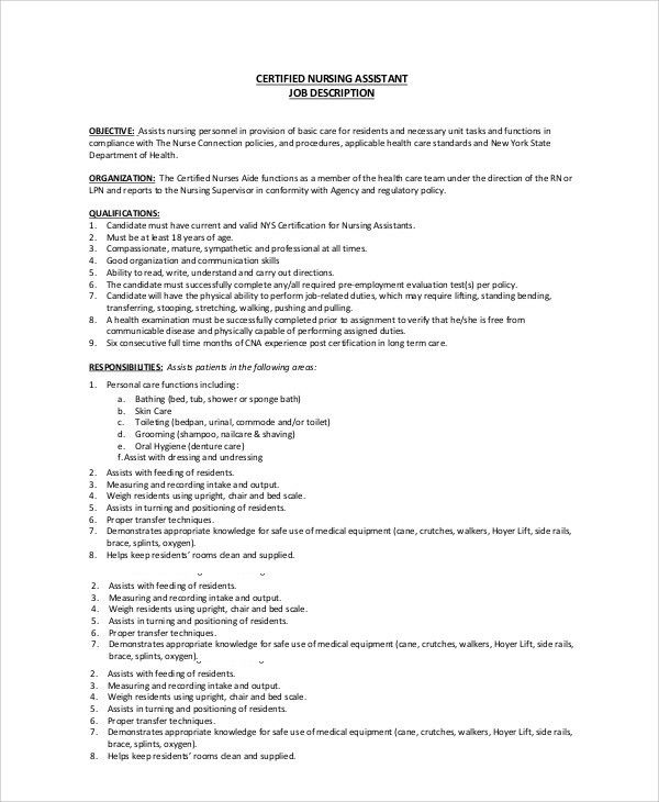 Sample CNA Job Duties - 7+ Documents in PDF, Word