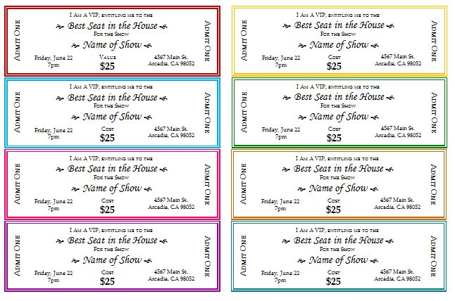 Event Ticket Templates - Make Your Own Printable Tickets