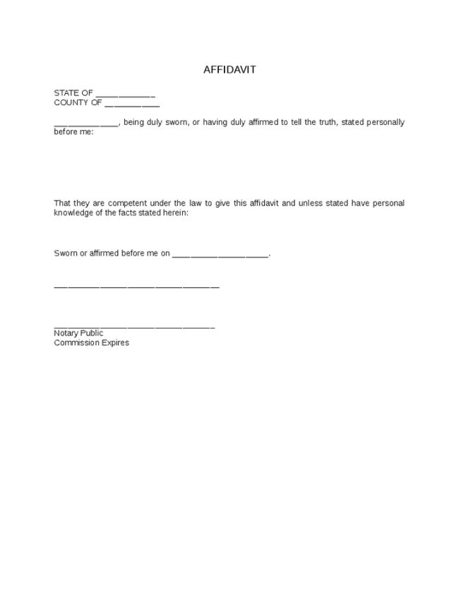 Minimalist Affidavit Form Template Example with Blank Space of ...