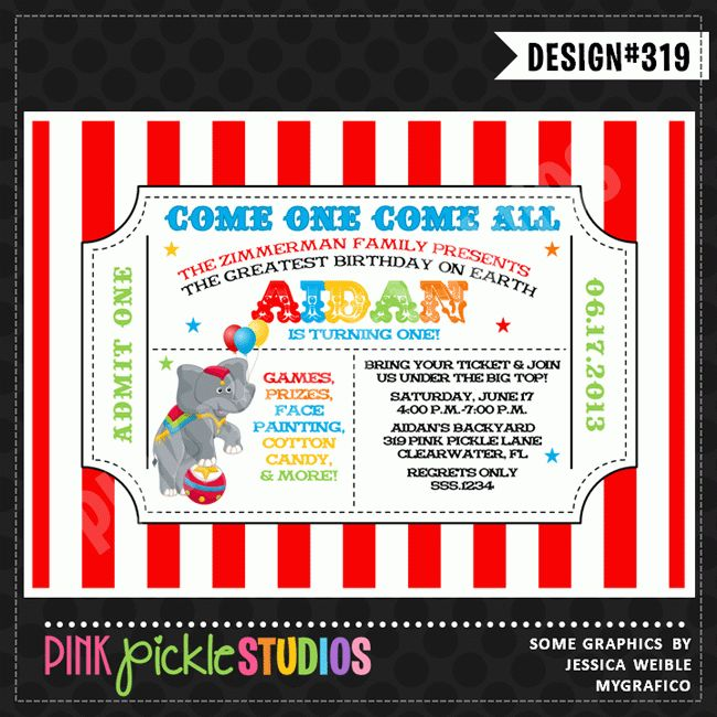 Circus Ticket Personalized Party Invitation