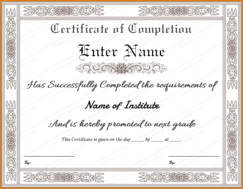 10+ completion certificate template | Job Resumes Word