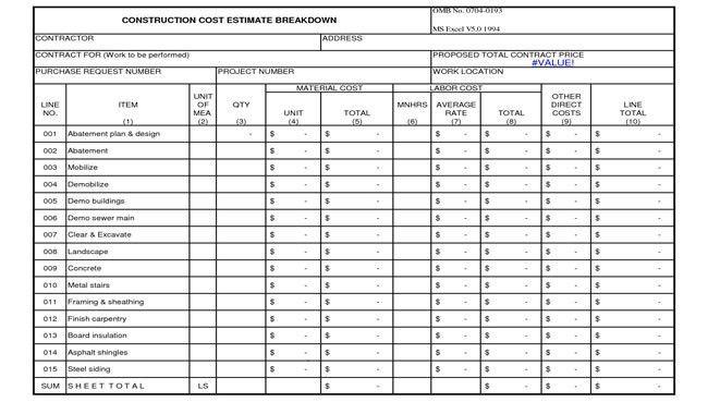 Download Construction Estimate Breakdown Sheet Template ...