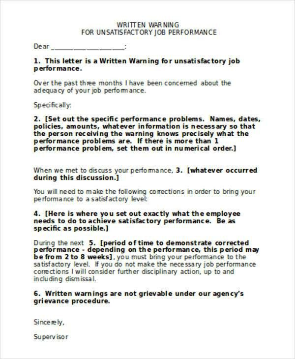 7+ Performance Warning Letter Template - 7+ Free Word, PDF Format ...