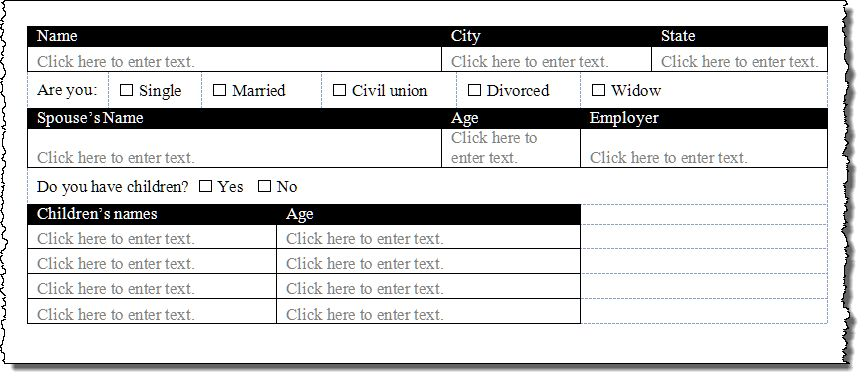 Create a Form Using Word Content Controls