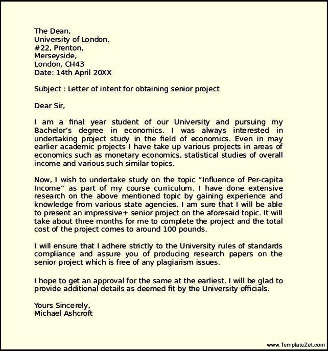 Letter of Intent Format for Senior Project | TemplateZet