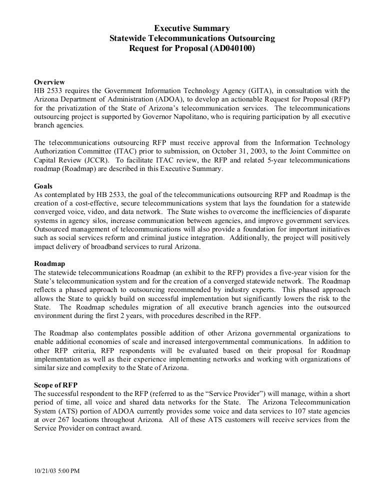 Executive Summary Statewide Telecommunications Outsourcing ...
